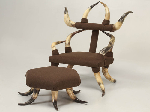 Child's Texas Antique Horn Chair with Ottoman Angled