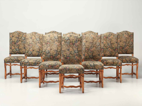 French Louis XIII Style Dining Chairs, Set of Ten Front