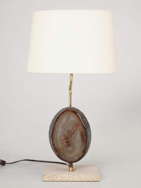 French Mid-Century Modern Specimen Agate Lamp Front