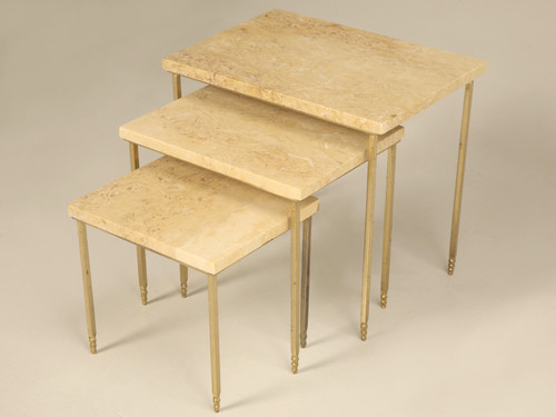 Set of 3 Mid-Century Modern Stone Brass Stacking Tables