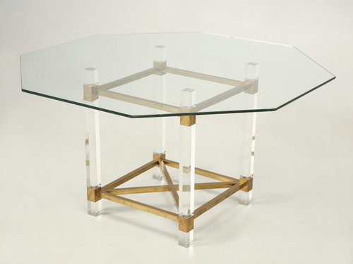 French Acrylic and Brass Dining Table Main