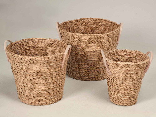 Woven Baskets with Handles (Set of 3)