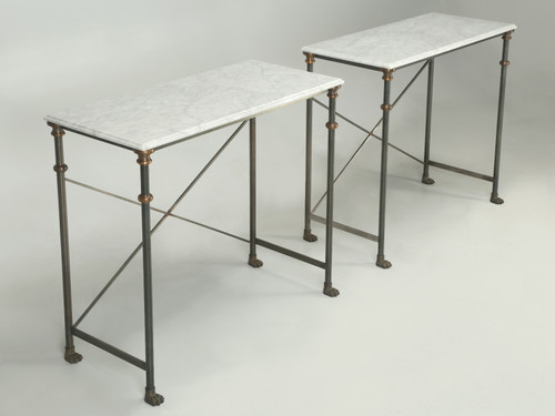 Pair of Stainless Steel Carrera Marble Console Tables Pair Angled