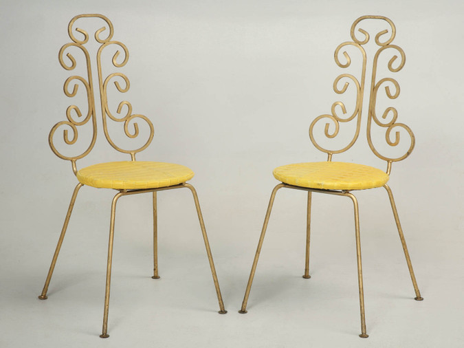 French Gilded Pair of Steel Chairs Front