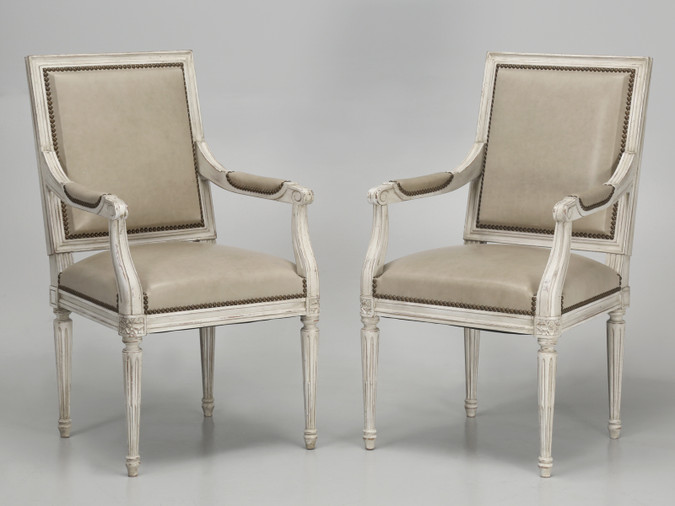 French Louis XVI Style Armchairs Pair Front