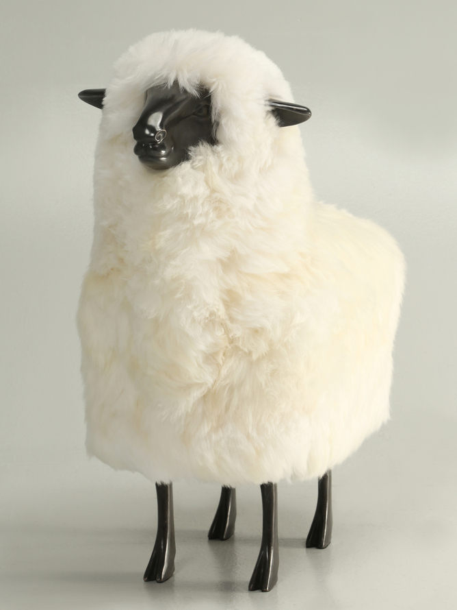 Old Plank Lamb Solid Bronze Real Sheep Fur Front