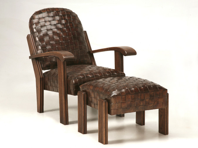 Hand Woven Leather Club Chair with Ottoman