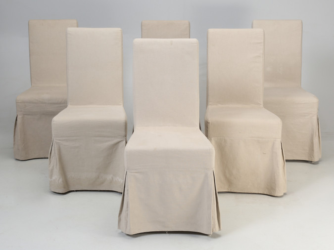 Set of 6 Slip-Cover Chairs Front