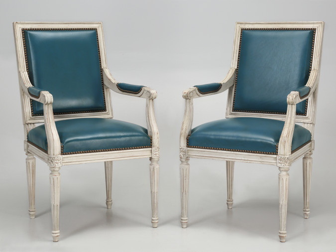 French Louis XVI Style Armchairs Blue Leather Pair Front