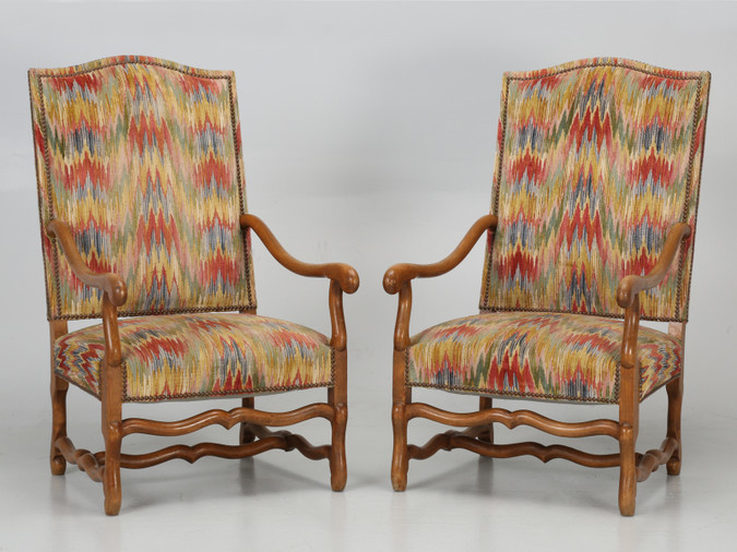 Pair of French Os de Mouton Armchairs Front
