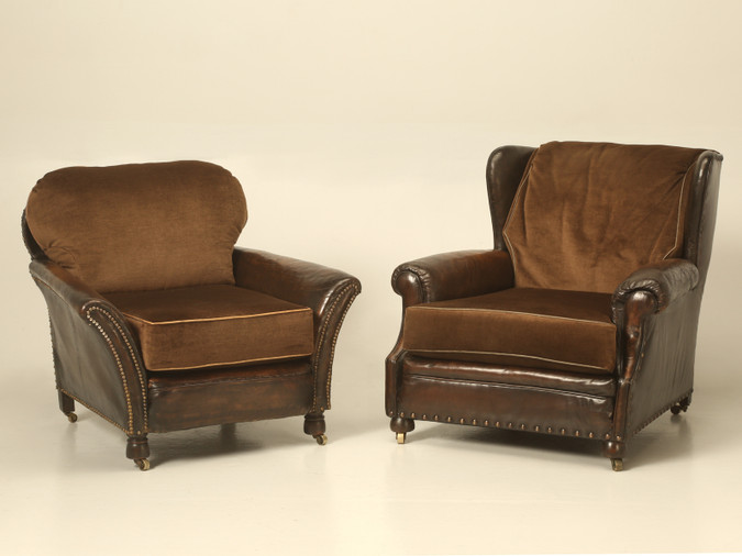 Pair of Original Leather and Mohair Club Chairs