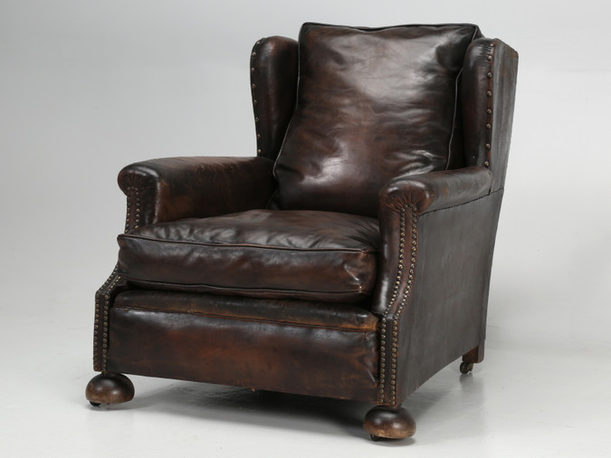 Tall French Leather Club Chair