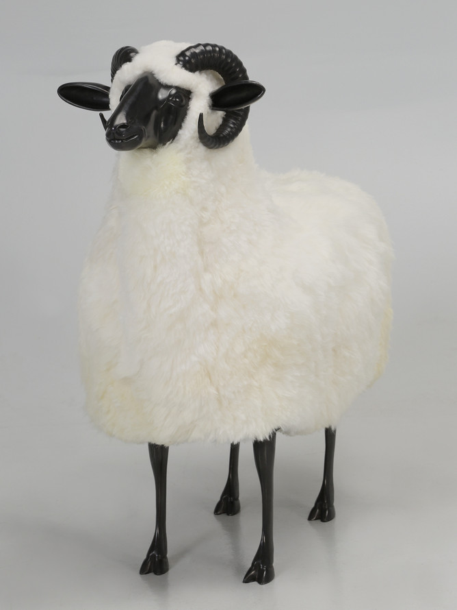 Life-Size Bronze Ram Covered in Sheep Wool Front