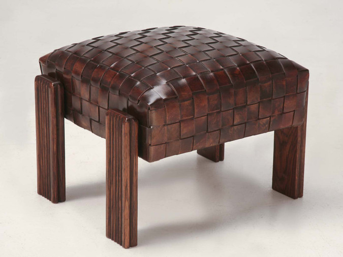 Unique French Hand Woven Leather Ottoman Angled