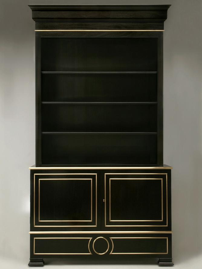 Custom Handmade Ebonized Bookcase Front