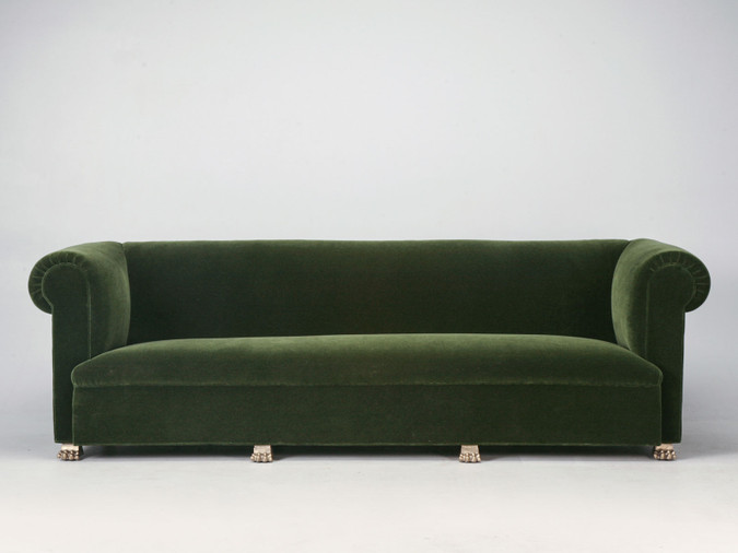 Custom French Sofa with Gold Plated Feet Front