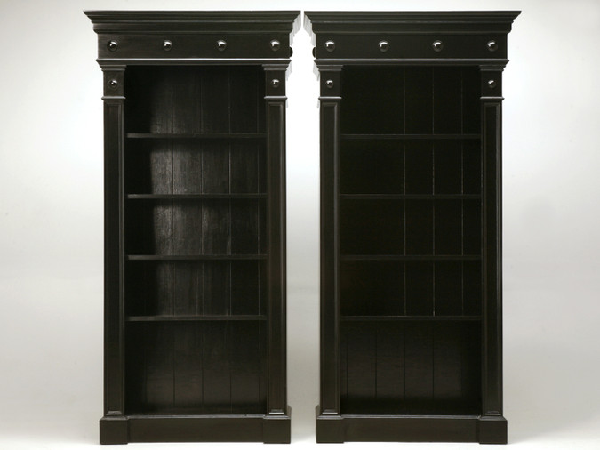 Pair of Custom Bookcases Black Hand Painted Finish Front