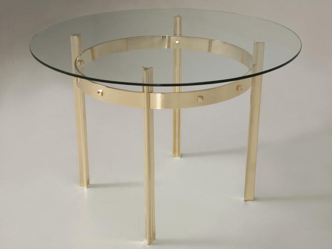 Modern Hand-Made Bronze & Glass Center Hall Table Main