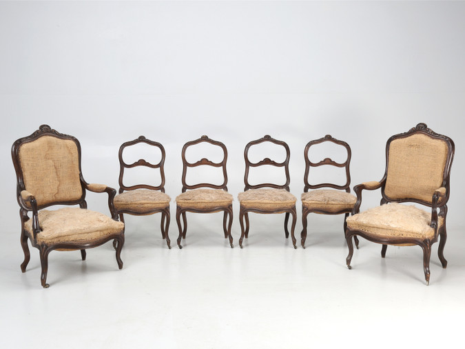 Set of Six Carved French Antique Parlor Chairs Set