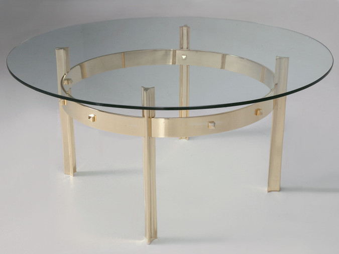 Custom Made Modern Brass & Glass Coffee Table Front Angled