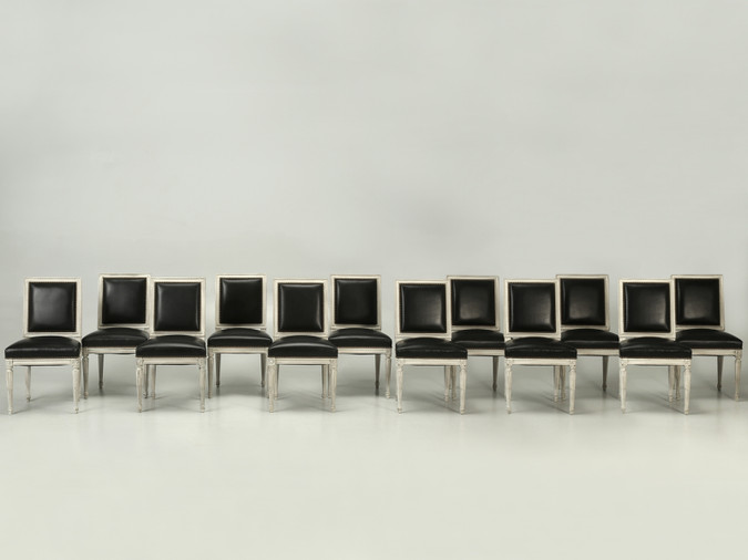 French Louis XVI Chairs in Black Leather Set Front