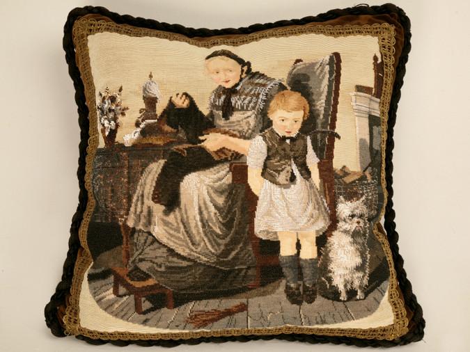 Antique English Folk Art Hand Beaded Pillow