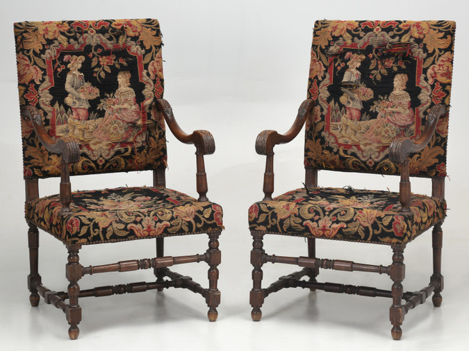 Antique French Pair of Armchairs late 1800's Front