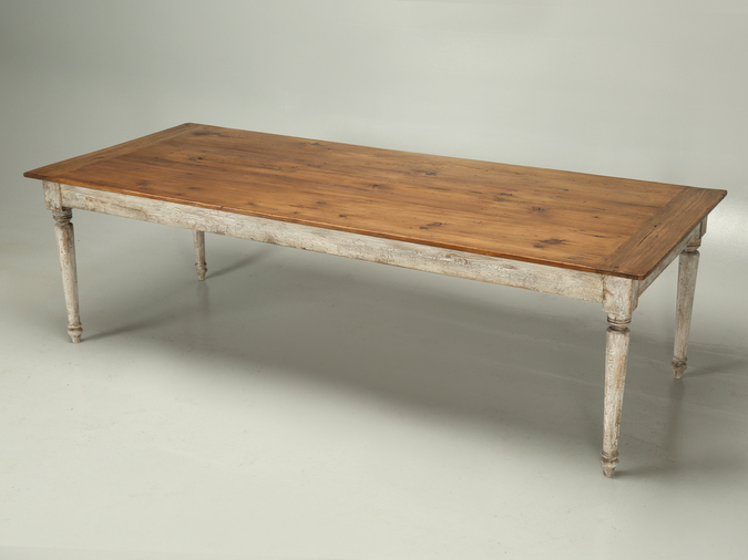 Country French Pine Farm Table with Painted Base Main