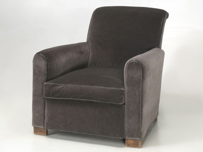 French Deco Club Chair Restored in Mohair Front