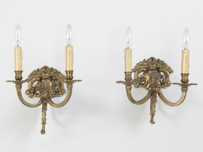 Pair of Solid Brass Two-Light Sconces