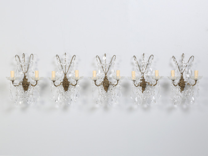 French Crystal and Brass 2-Light Sconces