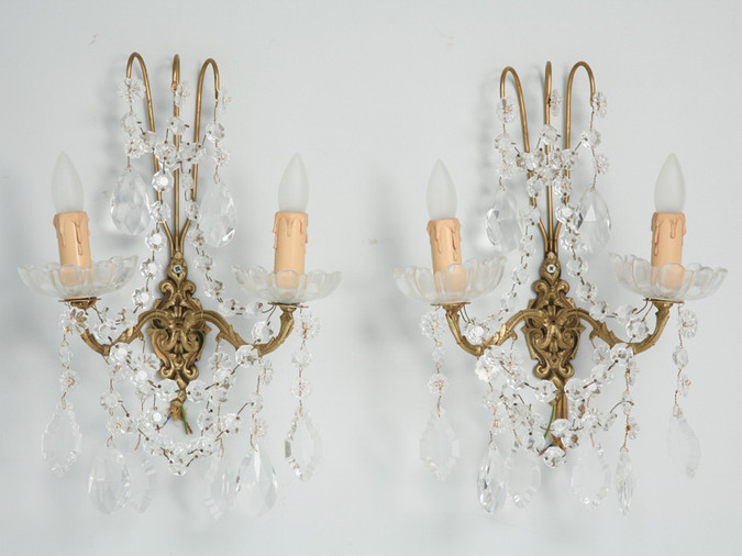 Pair of French Crystal Sconces Front