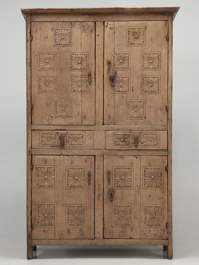 Antique 17th C. Cupboard or Armoire Unrestored Front