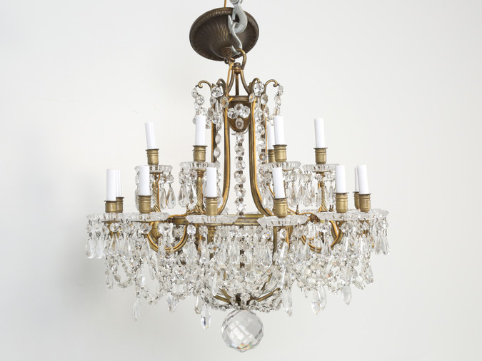 Antique Baccarat Bronze and Crystal Chandelier