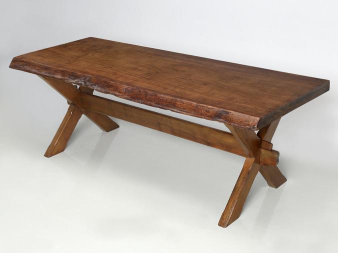Antique French Mahogany Trestle Table Main