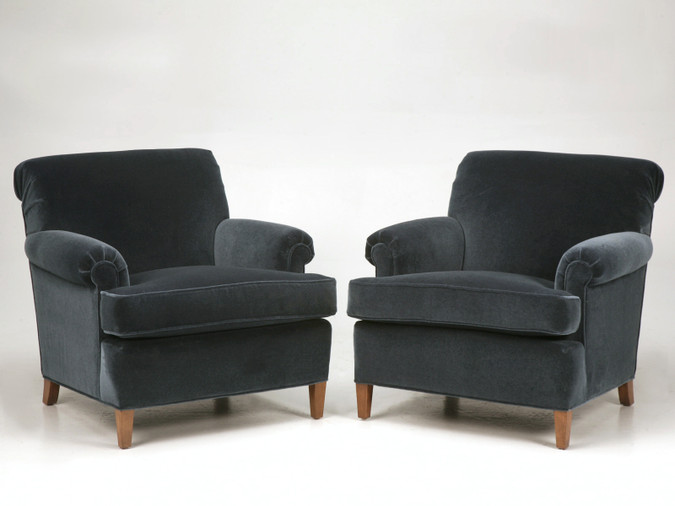 Pair of Custom Armchairs Handmade w/ Horsehair Padding and Down Pair Front