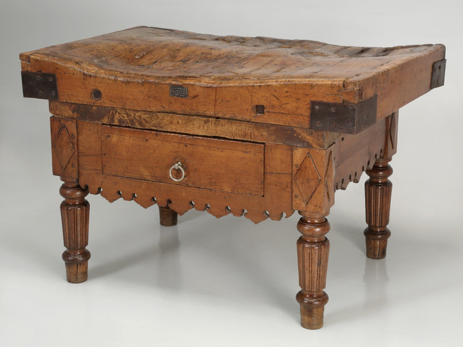 Authentic Country French Butcher Block c.1890
