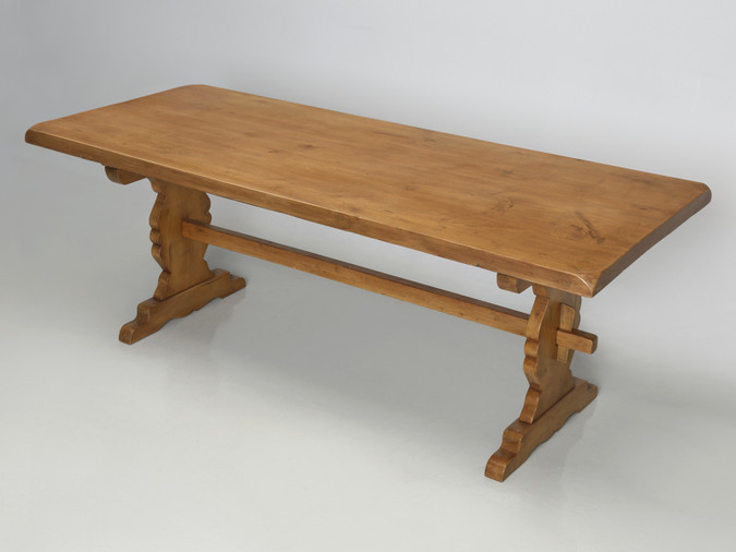 Old French Pine Trestle Style Dining Table Main