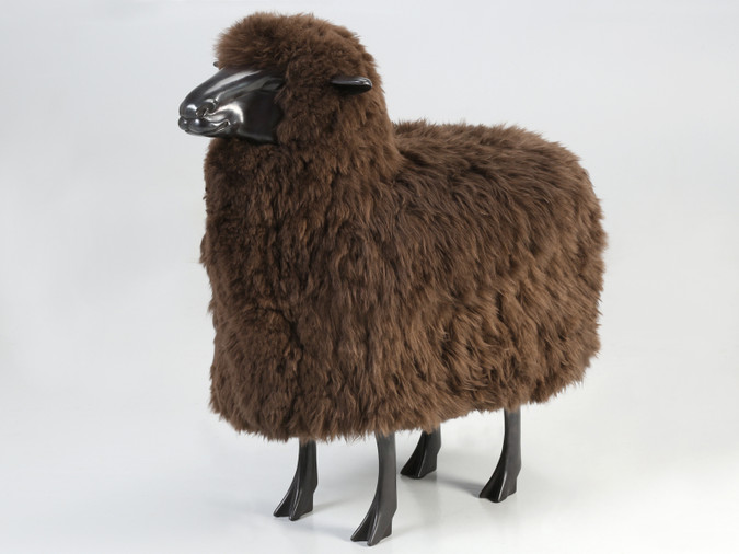 Solid Bronze Sheep with Real Brown Sheep Fur Main