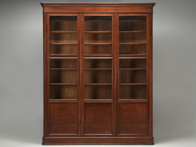 Antique French Mahogany Bookcase Unrestored Front