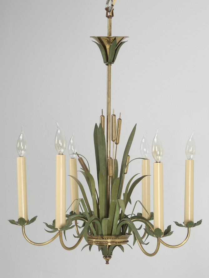 Vintage French Painted Cattail Chandelier