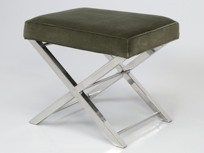 Modern Chrome Stool with Classic X-Style Frame Angled