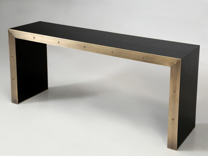 Bronze and Ebonized Wood Console Table
