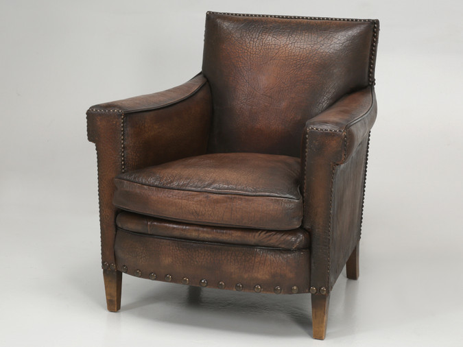 French Elephant Embossed Cowhide Club Chair