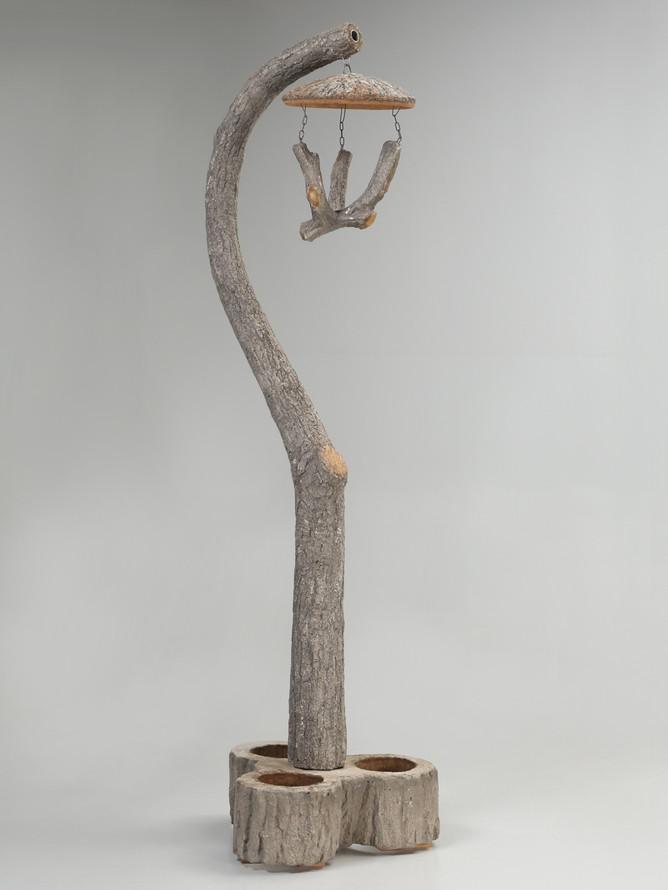 Vintage French Faux Bois Lantern or Bird Feeder