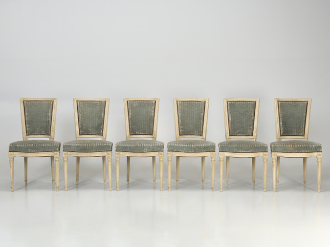 Vintage Louis XVI Style French Dining Chairs Set Front