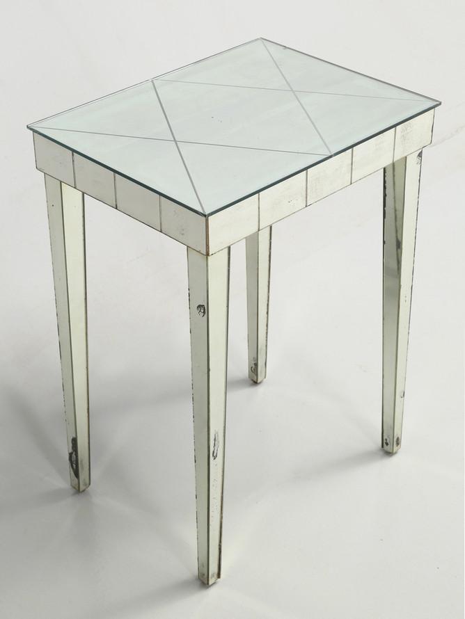 Vintage Midcentury Modern Mirror End Table