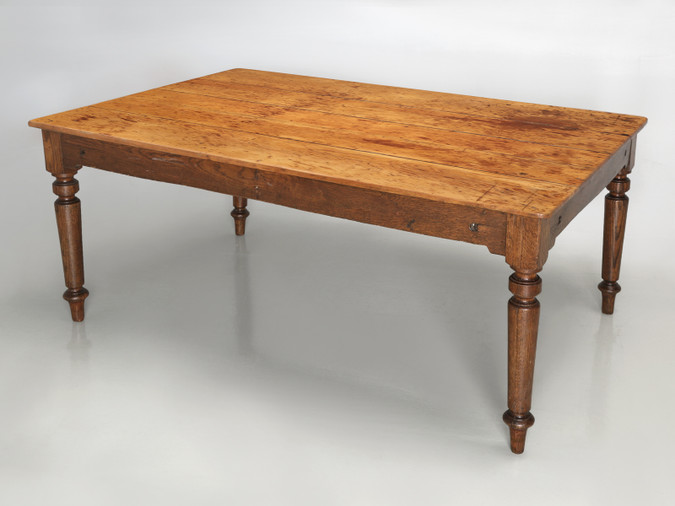 Antique Wisconsin Made Farm House Dining Table Angled