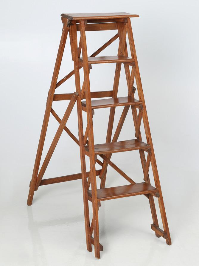Vintage French Wooden Folding Ladder