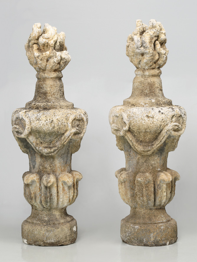Pair of Large Hand-Carved Flame Stone Finials Front